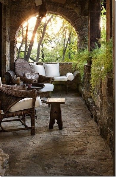 Beautiful and romantic old covered porch (via http://pinterest.com/pin/210965563764491513/)