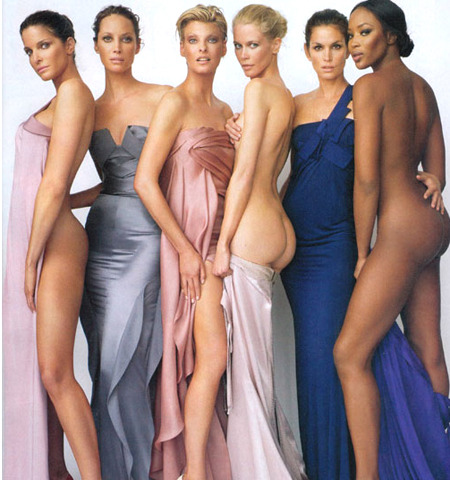 Stephanie Seymour, Christy Turlington, Linda Evangelista, Claudia Schiffer, Cindy Crawford, Naomi Campbell