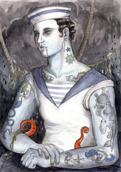 "sailorjunkers:  Johanna Öst  Sailor Watercolour. 8.3 × 11.8 in. I love her watercolors, you should check her website and buy her prints! (via ""Sailor"" – The Artwork of Johanna Öst)"