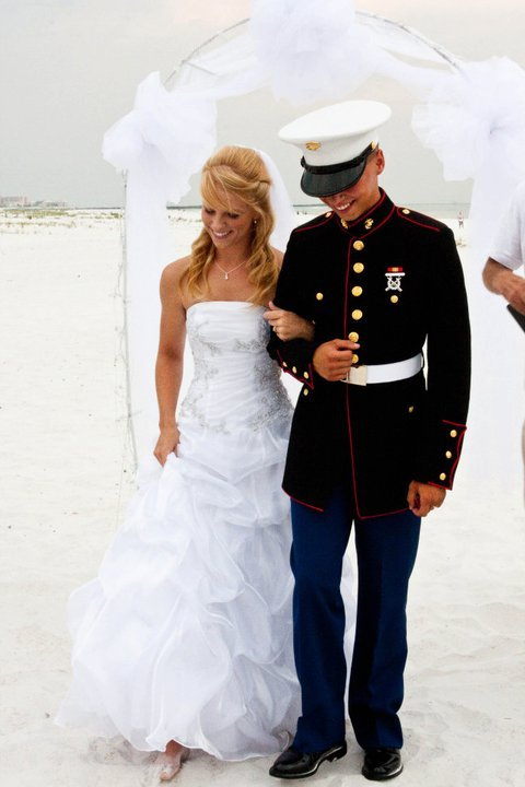 me and joey taking our first step as a married couple! :)  7/2/11