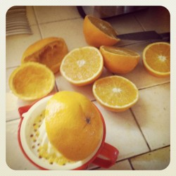 Making some fuzzy navels made with fresh squeezed orange juice (Taken with instagram)