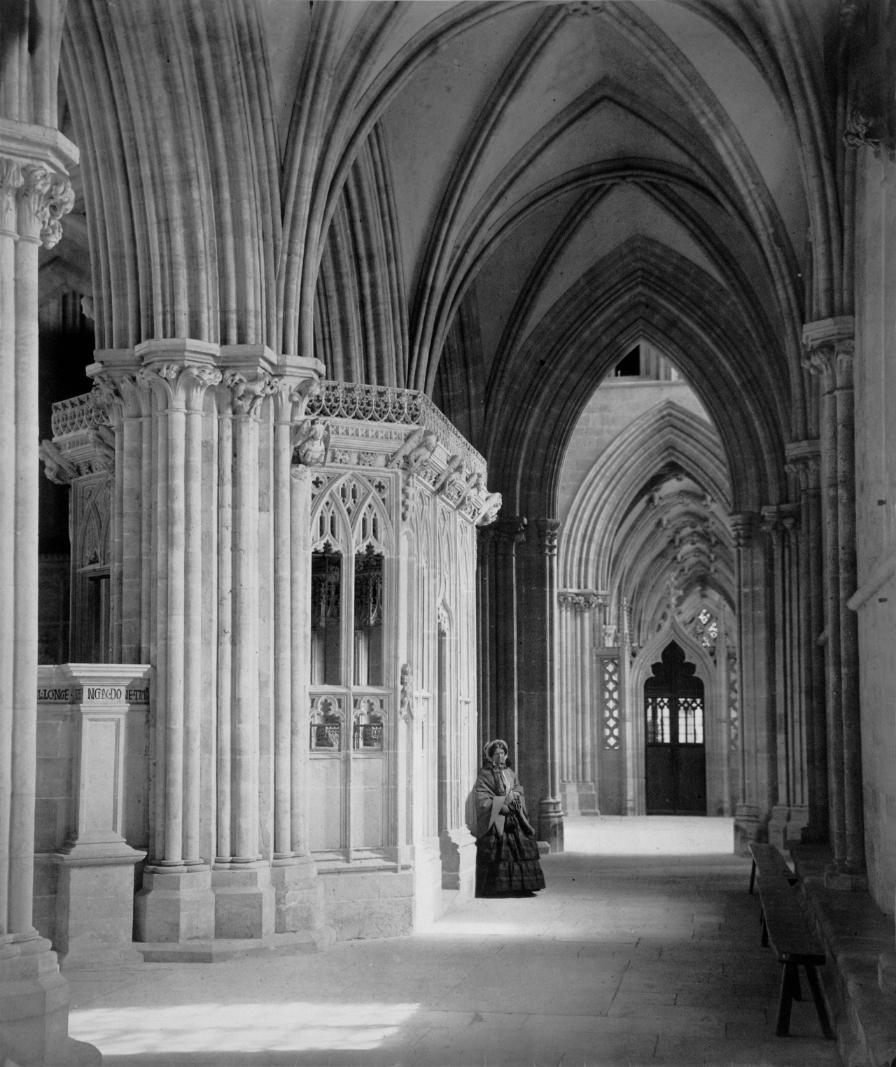 viα funeral-wreaths: Wells Cathedral, South Aisle of Nave, by Francis Bedford