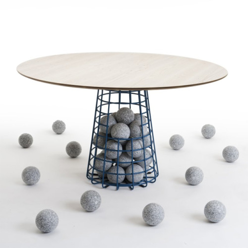 Gabion Table by Benjamin Hubert Each table comes with 14 granite balls.