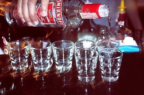 Got 7 Shot glasses and 70cl, Who's with me? Fuck that there's not enough.