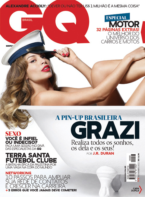 [Front cover]  Cover of GQ Brasil #08 (November 2011). Grazi photographed by J.R. Duran, in São Paulo. In my opinion, the best cover I've done at GQ. Grazi is naturally beautiful and spontaneus, and I think this can be perceived on the photo shooting. It's a doble cover, but it works perfectly only with the front cover (above).