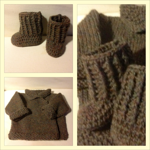 BABY set I made for dear friends … It's crochet and knit with super sweet green and brown heathered Shetland wool.