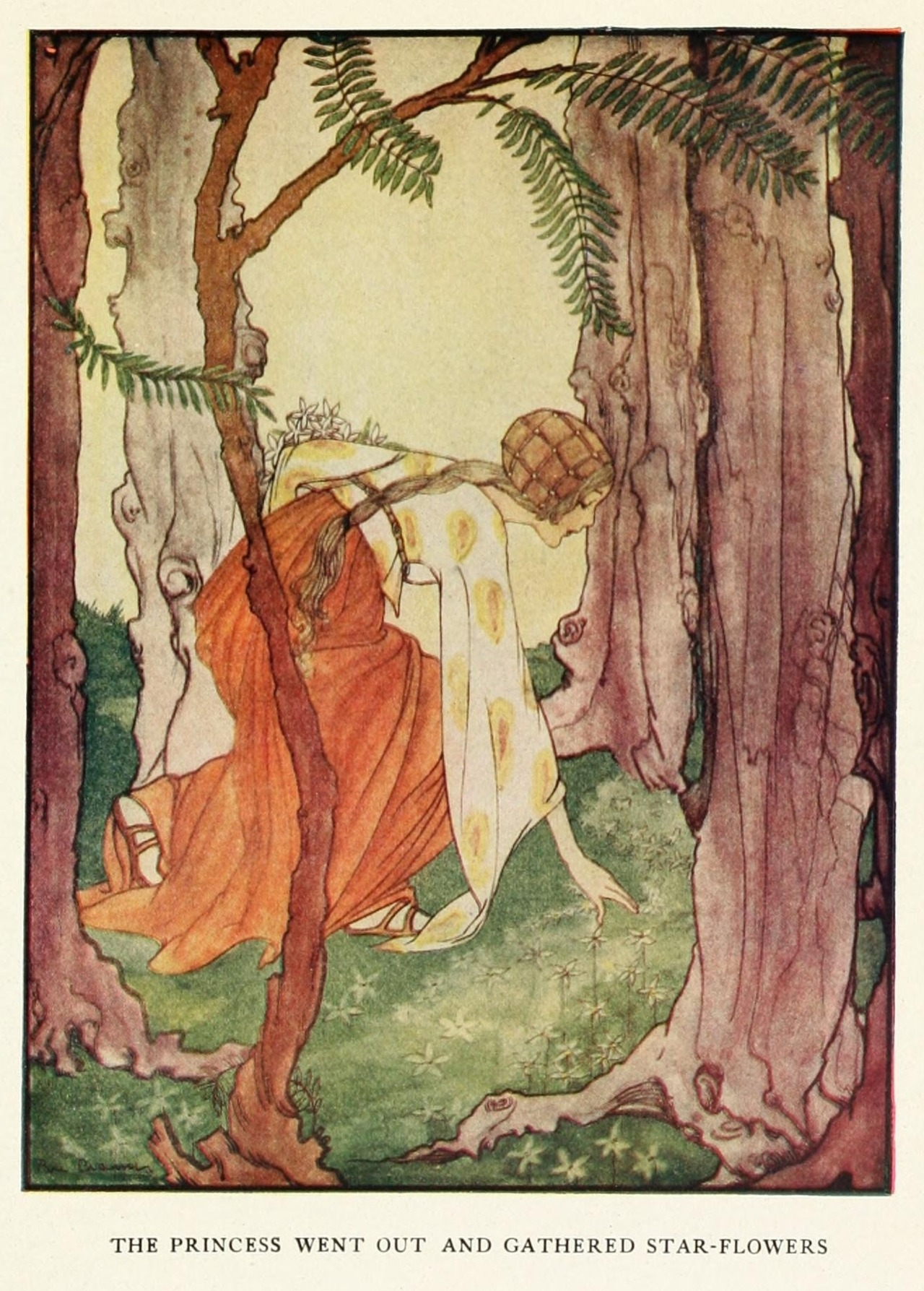 artofnarrative:  Rie Cramer ~ The Six Swans ~ Grimm's Fairy Tales ~ 1927 ~ via The princess went out and gathered star-flowers.