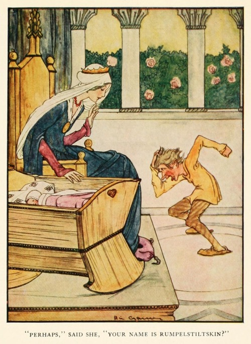 "artofnarrative:  Rie Cramer ~ Rumpelstiltskin~ Grimm's Fairy Tales ~ 1927 ~ via ""Perhaps,"" said she, ""Your name is Rumpelstiltskin?""  One of the styles I'm using for inspiration for my fairy painting. I love the classic fairy tale illustrations, they are all so beautifully done."