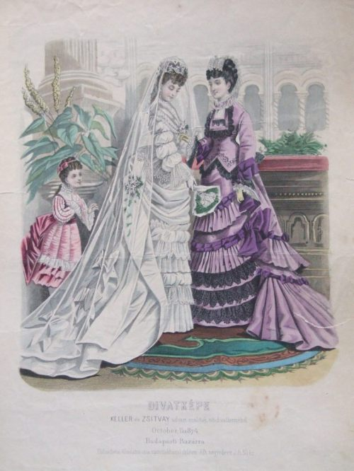 Wedding dress for women and formal dresses for women and girls, 1874 Austria-Hungary (modern-day Hungary), Budapesti Bazárra