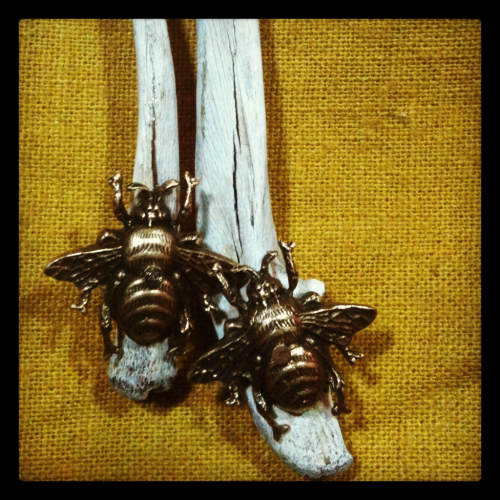Bees & bones, two of my favorite things! These earrings hang from small sterling silver hoops. Bekah Lunn // Lundr Design