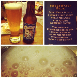 Brewing Company: Sweetwater Brewing Company; Atlanta, GeorgiaName: BlueStyle: (blueberry) fruit beer / Belgian Wheat AleABV: 4.6%Serving type: 12oz bottlePrice: unknown Aroma: Smells hint of blueberry. Cold crisp scent of wheat. Appearance: Nice thumb-sized head, little retention and very little lacing. Clear, light wheat-tan color. Lots of bubbles! Taste: Crisp taste of blueberries after taste of wheat. Very interesting going down throat, slightly tart. Very light taste. Light body, med-high carbonation. Bubbly and crisp - not exactly my style. Finish: Strong blueberry finish. Can't really feel or taste alcohol. Not as good at the Sea Dog Blue Paw. It would probably taste better with some fresh blueberries in it. Would be a good summer afternoon beer, I may try it again come summer time. I wouldn't buy a bottle to drink at home, but I'd take it to a party or have a pint at a bar. Rating: 3/5 Recommended.