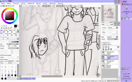Doing lineart with SAI + A broken, always shutting off tablet = Hell. And I have to do another group picture and colour a cover for my Writer's Club later.
