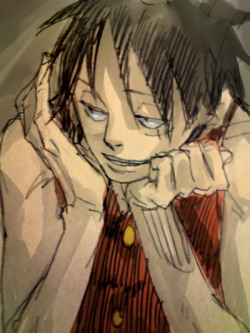 #96 {OPfans4ever's My Inspiration: Monkey D. Luffy Project}  My recent obsession is drawing Luffy with those same type of mischievous sexy eyes ;3 he's hella attractive like that! *q* edit: oh and the art isn't by me. just found on google :P maybe one day i'll post my own Luffy fan arts xD (but they suck lol)