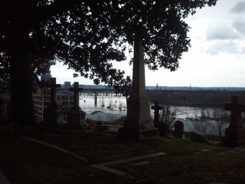 Hollywood cemetery so beautiful. Then all of the sudden it started pouring down rain and started snowing!