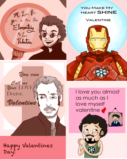 Some quick Valentines Day cards! Yay for Sherlock Holmes and Iron Man! art by me
