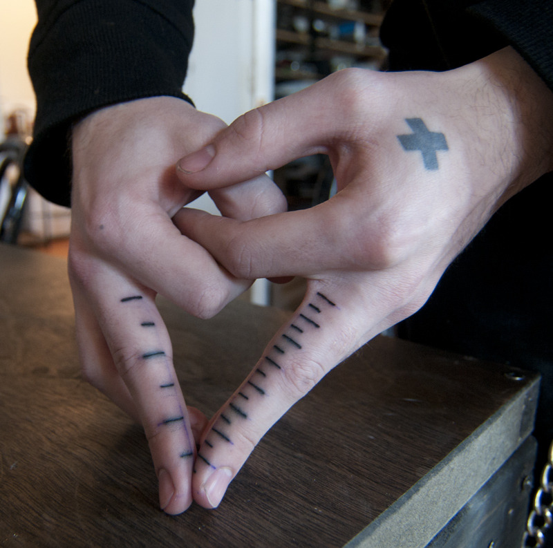 fuckyeahfingertattoos:  one side is metric the other is inches