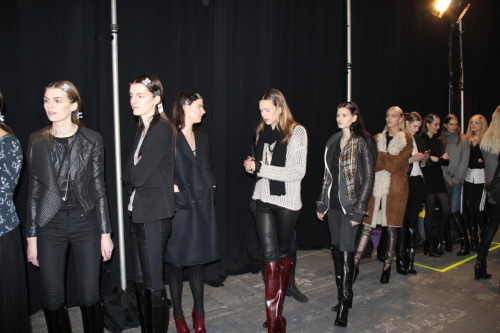 evachen212:  models lined up for rehearsal for the Alexander Wang show