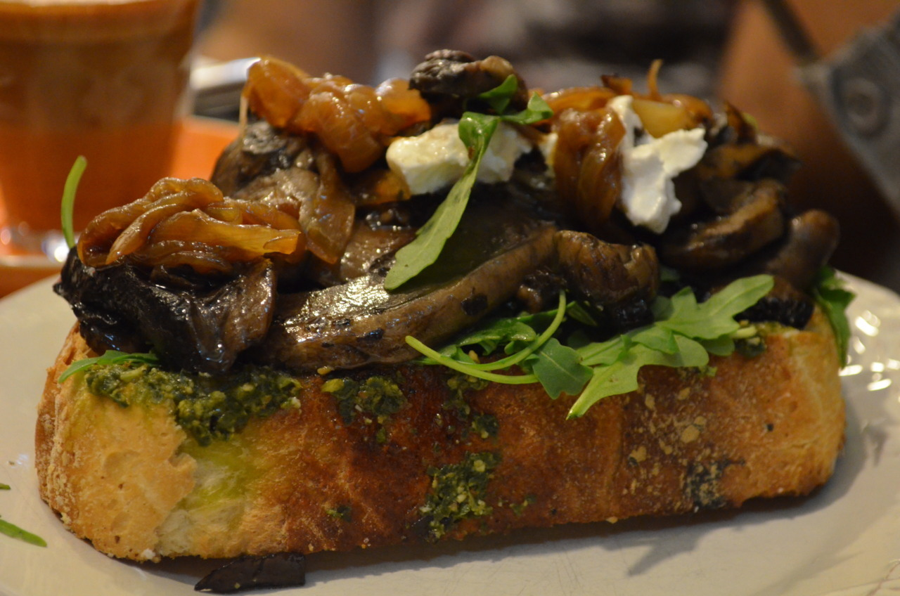 Portobello Mushrooms, Danish Fetta, Basil Pesto, Caramelised Onion and Baby Spinach on Sourdough Toast @ Circa Espresso, Parramatta