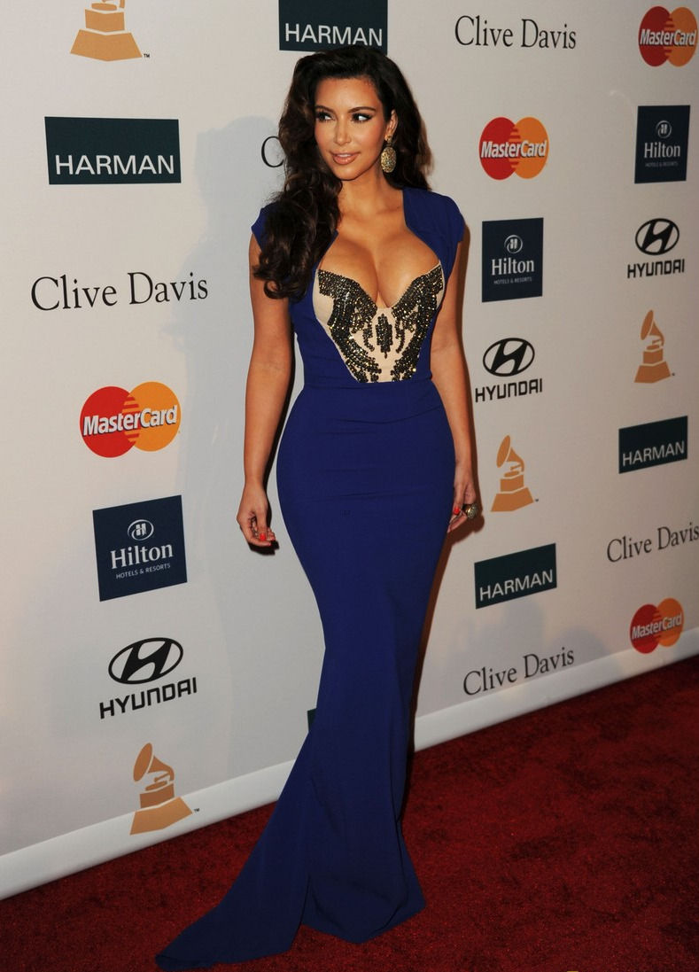 loveforfashion:  Kim Kardashian in Antonio Berardi dress at the Clive Davis Party.