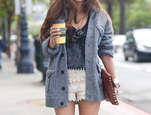 lace shorts & sweater combo worn well