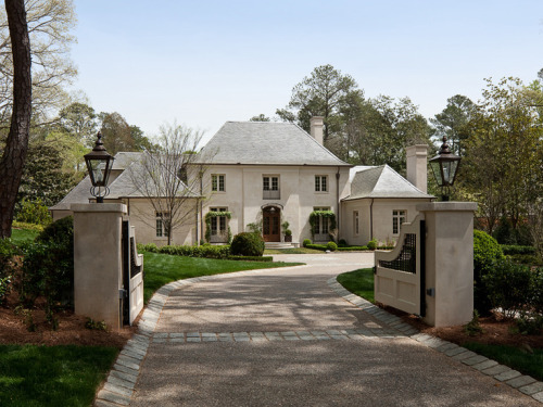 Wonderful gate. House needs shutters. Follow CollegeGuyDesign if you like things like this showing up on your dash! georgianadesign:  French estate by Architect William T. Baker.