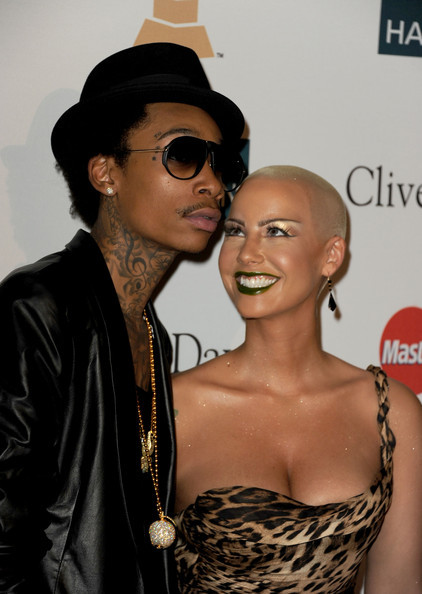 @DaRealAmberRose & @RealWizKhalifa at the Clive Davis And The Recording Academy's 2012 Pre-GRAMMY Gala