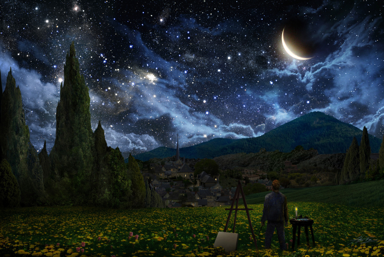omgitsjamiealex:  heyyouvejustbeensherlocked:   Starry Night by Vincent VanGogh (above) and reimagined by Alex Ruiz (below)   We all know how I feel about the original piece. Wow.