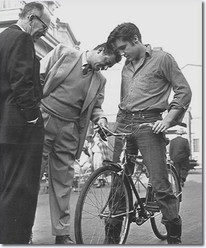 "Elvis on his ""Hound Dog"" bike"
