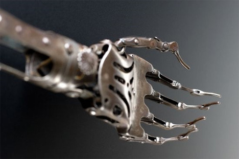 "zombiecarousel:  Victorian Artificial Arm ""Made from steel and brass, the elbow joint on this artificial arm can be moved by releasing a spring, the top joint of the wrist rotates and moves up & down, and the fingers can curl up and straighten out. The wearer may have disguised it with a glove. Among the most common causes of amputation throughout the 1800s were injuries received as a result of warfare."" - Science Museum  This is awesome."