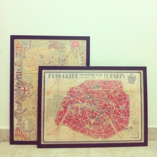 Finally got these maps in frames. See, Universe? I can take a hint. Now to actually hang them… (Taken with instagram)