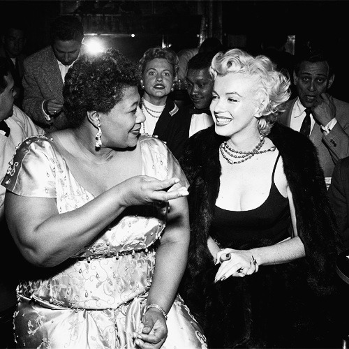 """I owe Marilyn Monroe a real debt…it was because of her that I played the Mocambo, a very popular nightclub in the '50s. She personally called the owner of the Mocambo, and told him she wanted me booked immediately, and if he would do it, she would take a front table every night. She told him – and it was true, due to Marilyn's superstar status – that the press would go wild,"" said Fitzgerald. ""The owner said yes, and Marilyn was there, front table, every night. The press went overboard. After that, I never had to play a small jazz club again. She was an unusual woman – a little ahead of her times. And she didn't know it."" - Ella Fitzgerald  Oh my god, my two heros in one photo."