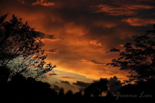 The burning bush - a fiery sunset over Singapore.