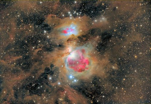 (via APOD: 2012 February 6 - Dust of the Orion Nebula) Highlighted by the bright, hot stars that it helped to form, the dust in the Orion Nebula shows up as brown in this image, while the glowing gas is in red. All of this material will be slowly destroyed or dispersed into the galaxy by the star formation taking place. Image Credit & Copyright: Nicolás Villegas