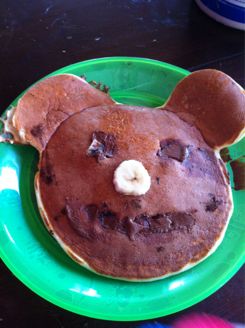 Even Collin loves protein pancakes.  He was perplexed about eating Mickey though- I think it freaked him out