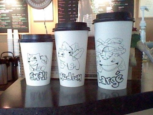 "theamericankid:  If Only We Had Pokemon Cup Sizes; The World Would Be A Better Place   No kidding, I'd much rather order a Blubasaur than a ""tall"""