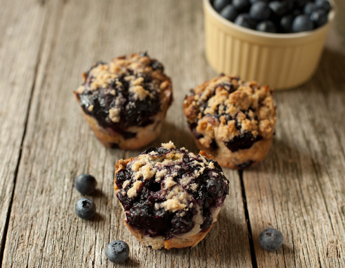 gastrogirl:  blueberry muffins topped with cinnamon crumble.