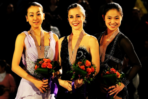 The ladies medalists at the 2012 Four Continents Championships. 1. Ashley Wagner 2. Mao Asada 3. Caroline Zhang