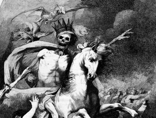 vulturehooligan:  Death On A Pale Horse (detail) John Hamilton Mortimer 1775