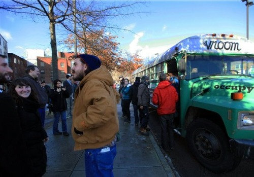 "climateadaptation:  The OWS roadshow came to my hometown of Northampton. The NYTimes covered their visit. Still unfocused. I stand by my original criticisms that OWS needs 1) a spokesperson and 2) run candidates for office.    There's a debate to be had about all this. OWS has essentially been trying to do wide-scale ""anti-PR"" for months, which makes sense considering it was spearheaded by an organization (Adbusters) that actively scorns a traditional approach to advertising and PR. My own opinion is that you can't just assume taking an adversarial approach to traditional PR is a smart PR move on its own. But on the other hand, they've done anti-PR just long enough at this point that they can say it's won them some success, possibly enough to feel that they don't need to go with Plan B. But in case they change their minds, Jesse LaGreca certainly seems like a good choice. — Ernie @ SFB"