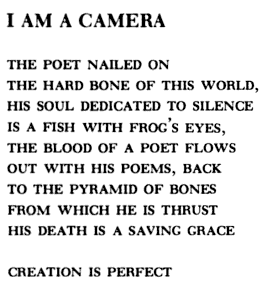 """I Am a Camera"" by Bob Kaufman"