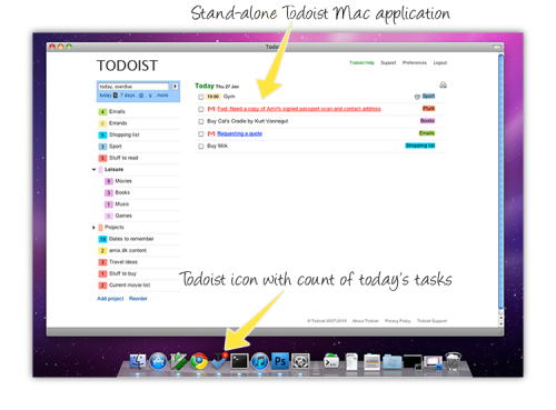 Todoist is an online task manager with a very simple interface and built-in calendar. You can organize your tasks into projects and even sub-projects and sub-tasks. It includes reminders, Gmail integration, Outlook integration, Mac and SmartPhone
