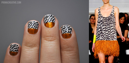 NAILS DID : Sass Manicure Inspired by : Sass + Bide Fall 2011 RTW  Colors : American Apparel T-Shirt, Black Nail Art Pen, American Apparel Gold Rush + Bronze Dash