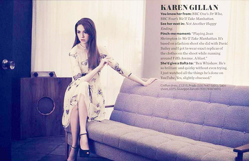 "Photo from Karen Gillan's InStyle Photoshoot We posted the video earlier. varjaks:  She'd give a Bafta to: ""Ben Whishaw. He's so brillant and quirky without even trying. I just watched all the things he's done on Youtube. Yes, slightly obsessed.""  - Karen Gillan for InStyle UK March 2012"