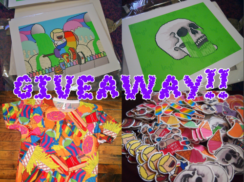 lulinternet:  LULINTERNET.COM GIVEAWAY!!!what you'll get:- (2) giclee prints (slime skull, and the happy pals) on water resistant canvas with UV protective coating. limited edition of only 25 made. signed and numbered! - (1) junk food all over print shirt (sizes are S-XL)- a shit ton of buttons!- an unquantifiable number of stickers!!!!!!!!!i'm giving away a buttload of crap!! don't be a fucking idiot, you want to win all of this dumb shit!!!~*~*~*~RULES~*~*~*~ all you have to do is REBLOG THIS POST and DO NOT ERASE THE TEXT. that's it! if you erase the text, you will not win and you will live in tumblr infamy as a fucking piece of shitcontest ends VALENTINE'S DAY at 4:20pm(est) when i will be posting DA WINNERGOOD LUCK B-) http://lulinternet.bigcartel.com