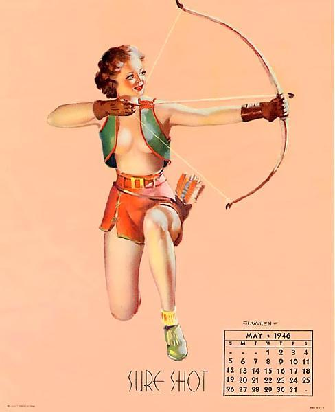 Sure Shot, an early Gil Elvgren painting (1937, one from his first calendar pin up series), here recycled for a 1946 calendar.