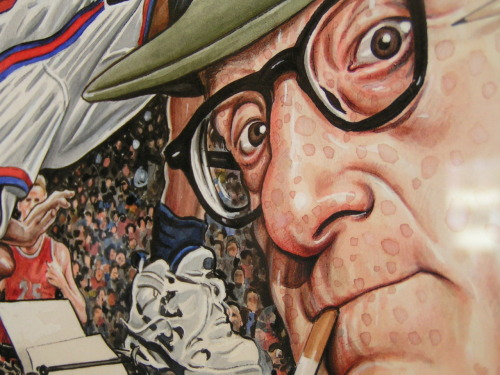 "close-up of ""Woody Allen at Knicks Games"" by artist Drew Friedman"
