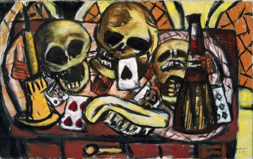 "i12bent:  Max Bechmann: Still Life with Three Skulls, 1945 - Oil on canvas (Museum of Fine Arts, Boston) ""Beckmann fled Germany in 1937, taking refuge in Amsterdam, where he painted this still life during the final months of World War II. He combines a modern style of flattened space, schematic forms, and intense colors with traditional still-life objects-skulls, an extinguished candle, playing cards-that suggest the frailty and transience of human life. The artist described these years as ""a truly grotesque time, full to the brim with work, Nazi persecutions, bombs, hunger."" In the choice of objects, the predominance of black, and the thick, rough paint, this still life captures the grim mood underlying such words."""