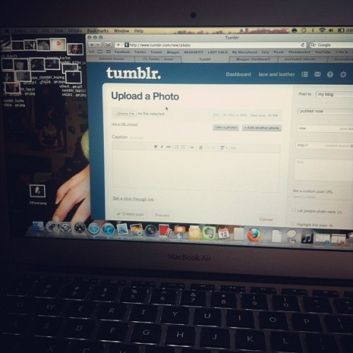 what makes me happy. tumblr. macbook air. snuggly in bed. a day late. day 11. feb photo a day.