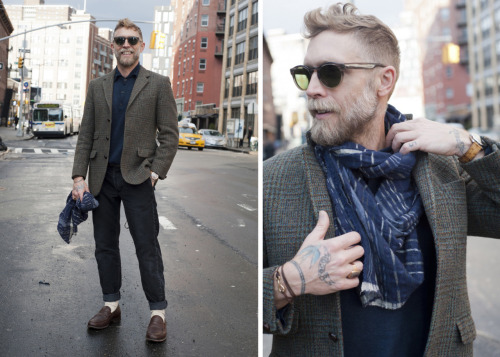 The Style Blogger - How to wear Man Jewelry Vintage tweed jacket. Dries Van Notten linen and silk sweater. RRL corduroys. Churches loafers. Inhabit cashmere and cotton scarf. Hermes Arceau watch. Barton Perreira sunglasses. Giles & Brother 14k gold hook with leather lashing. Vintage signet ring.