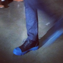 Blue rubber soles at Patrik Ervell #attheshows #nyfw  (Taken with instagram)
